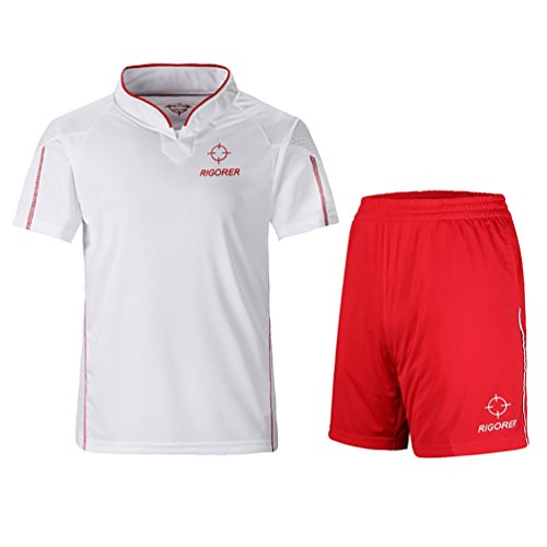 Rigorer Short-Sleeve Soccer Uniforms Jersey and Shorts Set White&Red XL (Set Uniform Adult Football)