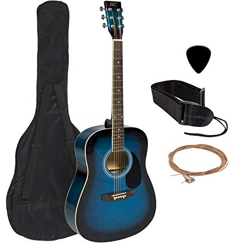 Best Choice Products 41in Full Size All-Wood Acoustic Guitar Starter Kit w/ Case, Pick, Shoulder Strap, Extra Strings - Blue