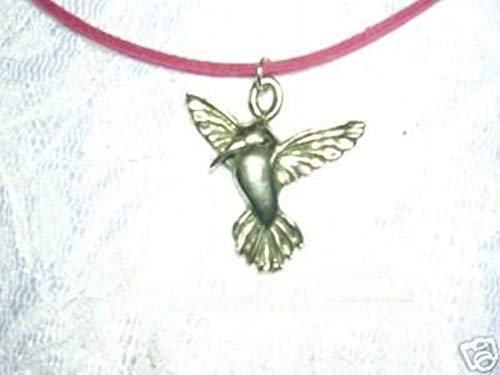 New Cute Hummingbird Bird CAST Pendant ON 16 Pink Suede Cord Necklace ()