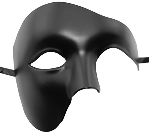 Masquerade Mask, Coxeer Venetian Mask Mardi Gras Mask Halloween Costume Feather Mask for Halloween (Men Black) ()