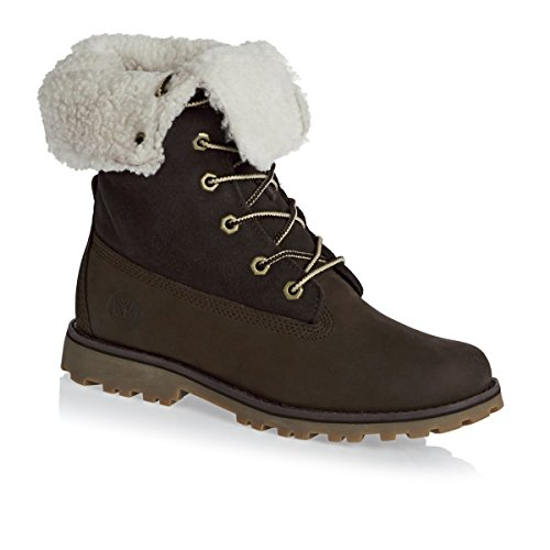 Timberland Kids 6-Inch Waterproof Shearling Leather Boots Brown