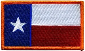 Texas State Flag Patch, Size 3-3/8x2