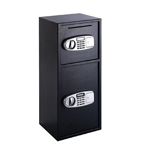 Cash Depository Drop Safe Box Double Door Heavy Duty Solid Steel Vault w/ Digital Lock