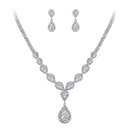 (BriLove Wedding Bridal Necklace Earrings Jewelry Set for Women CZ Crystal Teardrop Infinity Y-Necklace Dangle Earrings Set Clear Silver-Tone)