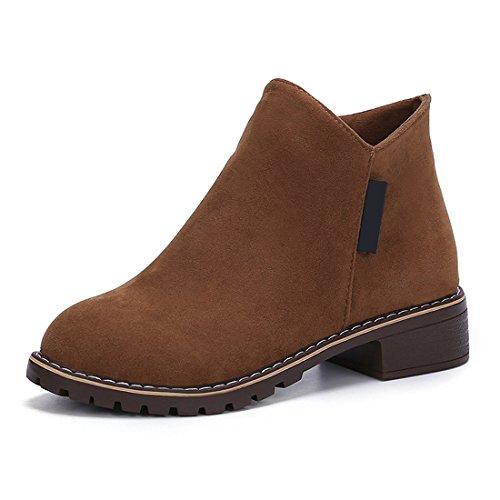 Gaorui Women Ankle Boots Suede Chelsea Low Heel Casual Boots Office Biker Shoes Flat Zip up Brown