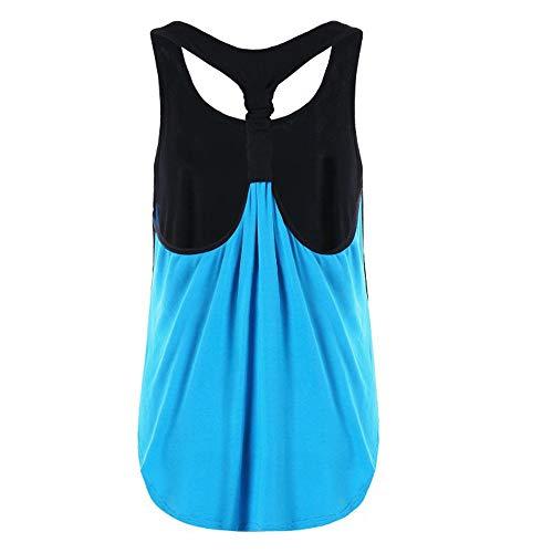 iLUGU Women Summer Vest Top Sleeveless Racer Back Blouse Casual Tanks T Shirt Cami Blue by iLUGU (Image #1)