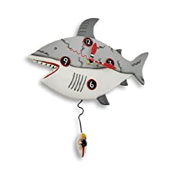 Allen Designs `Surf at Risk` Shark Wall Clock with Surfer Pendulum