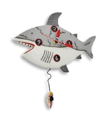 - Allen Designs `Surf at Risk` Shark Wall Clock with Surfer Pendulum