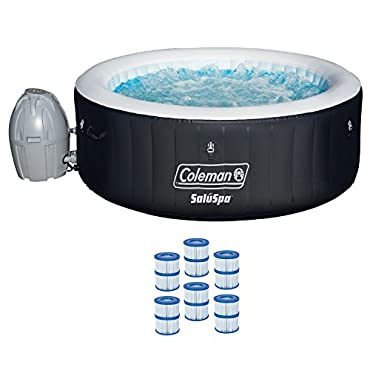 """Coleman SaluSpa 71x26"""" Inflatable 4-Person Hot Tub with 6 Filter Cartridges"""