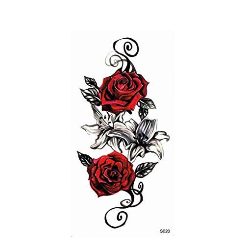 YSYYSH Cuerpo Impermeable Rosa roja Tatuaje Pegatina Brazo ...