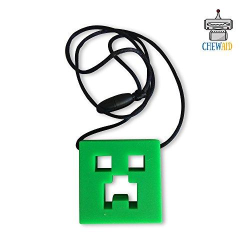 Chew Pendant néon vert Formation et développement Fidget Toy Chew Collier pour la dentition Bébés sensoriels, Oral Moteur, Anxiété, Autisme, TDA