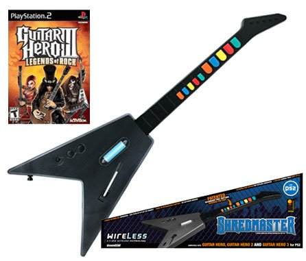 PS2 Guitar Hero 3 + PS2 Shredmaster Wired / Wireless Rechargeable Guitar (Carbon Fiber / Black)