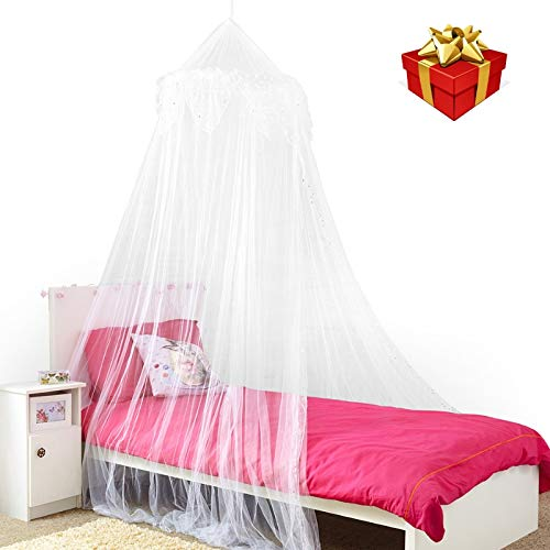 Princess Bed Canopy - Beautiful Silver Sequined Childrens Bed Canopy in White - Single Bed ()