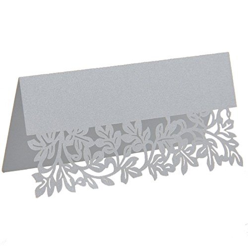 YUFENG Laser Cut Seat Cards Banquet Decorations For Wedding Birthday Party (60pcs Silver) (Wedding Card Place Cake Holder)