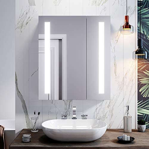 ELEGANT Led Illuminated Bathroom Mirror Cabinet Stainless Steel Wall Mounted with Shaver Socket & Sensor Switch 600mm x 700mm For Makeup Cosmetic Shaver Charging