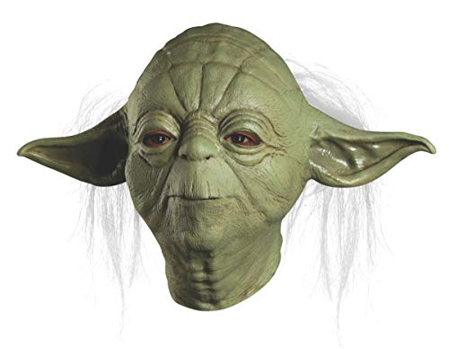 Star Wars Master Yoda Deluxe Adult Overhead Latex Mask, Green, One Size]()