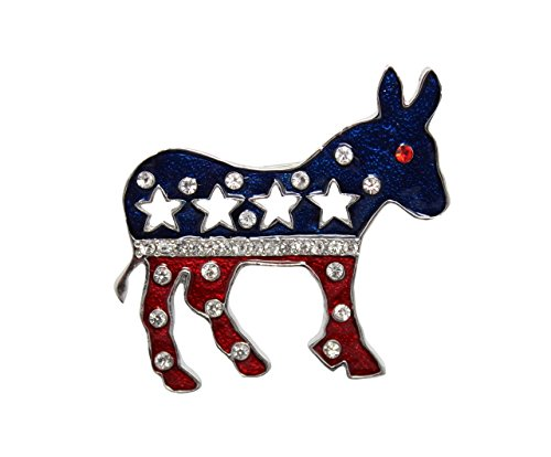 Patriotic  Donkey Brooch with Rhinestones