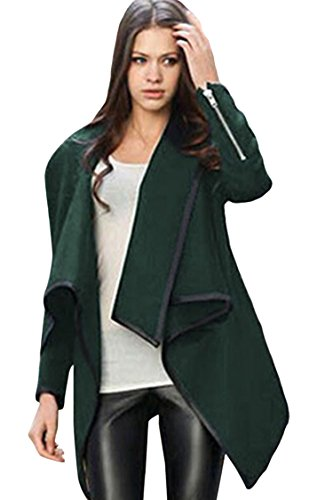 ther Trim Irregular Drape Woolen Trench Coat Outwear S (Leather Trim Trench Coat)