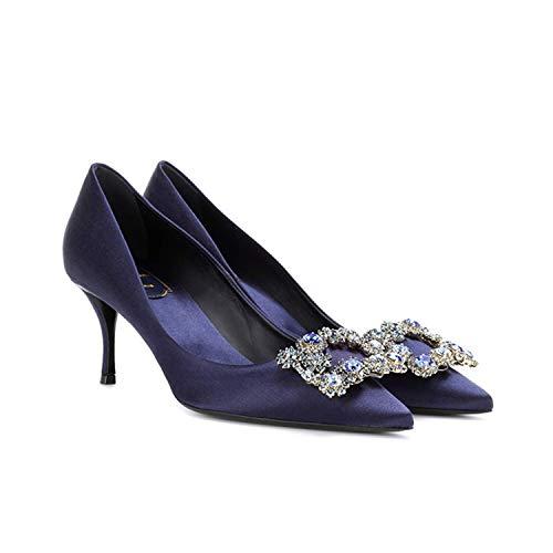 A 35 EU FLYRCX Style européen Pointu Bouche Peu Profonde Stiletto en Cuir en Satin Strass Talons Hauts Les Les dames Chaussures de Mariage Chaussures Simples