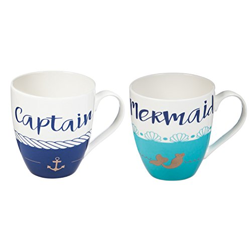 Evergreen Dinnerware Collection - Cypress Home Captain and Mermaid Ceramic Mug Gift Set, 18 ounces, Set of 2