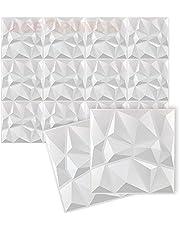 Acepunch New AP1216 Wandpanelen van pvc, wit, 30 cm x 30 cm, gestructureerd pvc, waterdicht, met diamantdesign, voor het interieur van een thuiskantoor of studio
