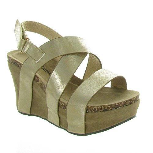 Pierre Dumas Women's Hester-5 Vegan Leather Strappy Wedge Sandals,Gold,8.5