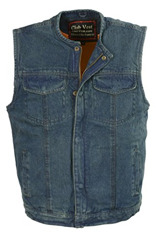 Club Vest-Men's Collarless Denim Club Vest w/ Hidden Zipper (Blue, 6X), 1 Pack