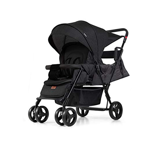 Double Stroller, Convenience Urban, Twin Carriage Stroller Tandem Collapsible, All Terrain Double Pushchair for Toddler,Stable Stroller Frame with Bag Organizer,Black