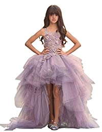 Lilis Flower Girl Dresses for Wedding High Low Pageant Gowns Tulle Puffy