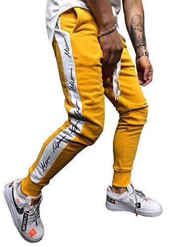 - Hakjay Mens Slim Fit Track Pants Striped Joggers Sweatpants Casual Training Pants Yellow