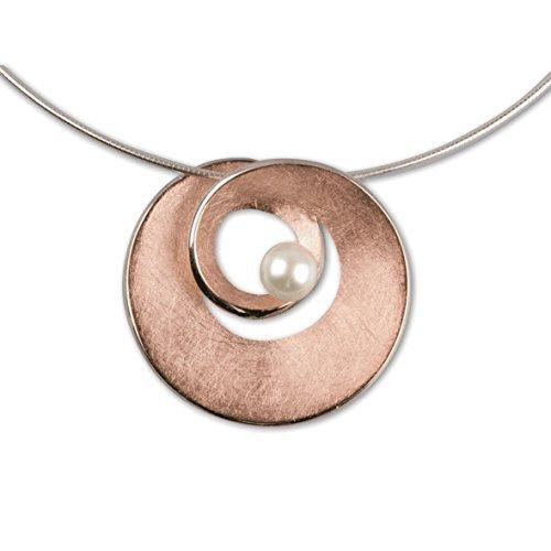 """LuxXL pendentif spirale """"argent plaqué or avec k2050R (perle)"""