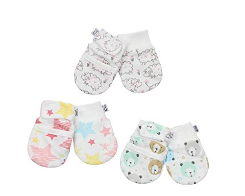 (Darlyng & Co.'s Anti-Scratch Newborn Baby Mittens (0-6 months) 3 pairs (Pink- Girl) )