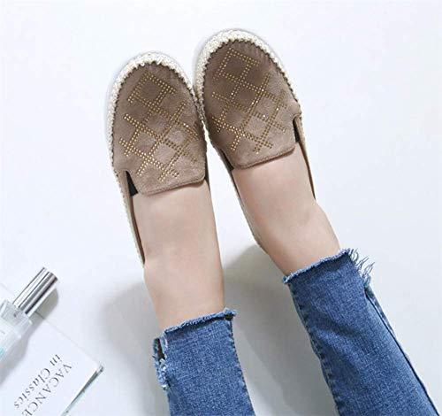 Cuero Loafers uk5 Para eu38 Primavera Mujer Yhden gray Zapatos Casual Verano 5 Cómodo Zapatillas Otoño Mocasines Planos Slippers Ww8aqaxFBE