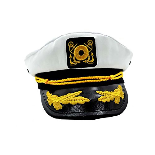 Ibeauti Unisex Adjustable Captain Costume Admiral Hat Cosplay White Sailor Cap