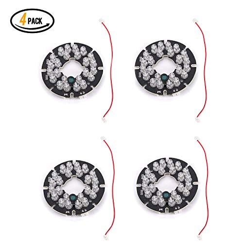 Qisheng 24 LED 850nm IR Infrared Illuminator Board 90 Degree Round Plate IR Illuminator Board Bulb for CCTV Security Camera(4Packs)