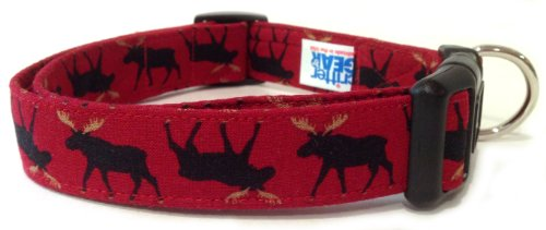 Adjustable Dog Collar in Red with Moose (Handmade in The U.S.A.)