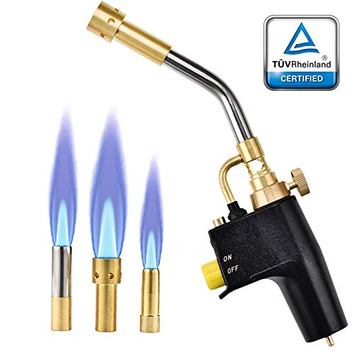 Heat Propane Torch - 4YANG Heat propane mapp torch Multi Purpose Includes 3 - Nozzles/Tips High Intensity Trigger Start Torch Heat Shrink Torch