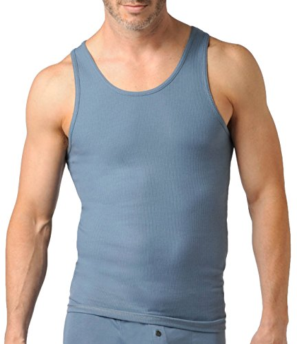 Naked Mens Ribbed Henley Pima Cotton Tank Top