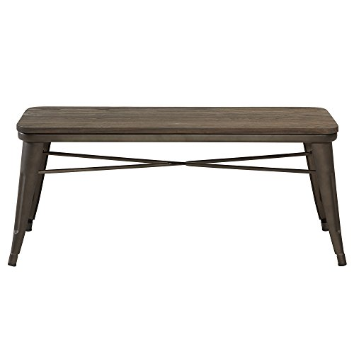 Metal Bench Office - Nspire 401-197GM Industrial Double Bench, Wood/Metal, Gunmetal
