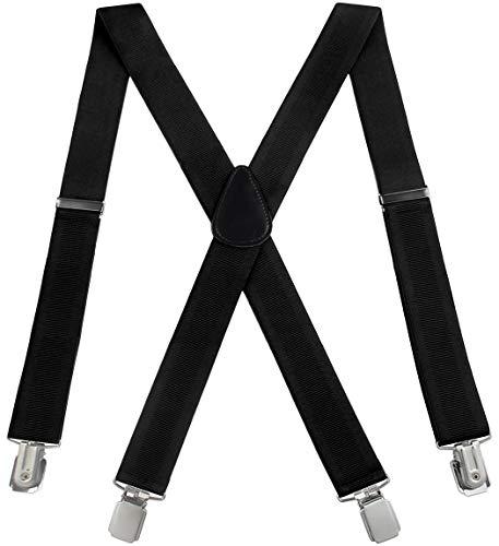 Mens Suspenders Adjustable X-Back Heavy Duty Clip Suspenders - Elastic, Big & Tall