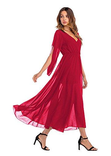 Badi Na Femmes Élégantes Maxi En Mousseline De Soie Grande Balançoire V-cou Rouge Robe Longue