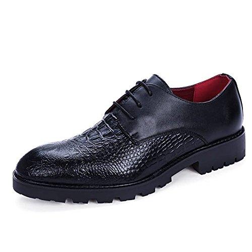 Xujw-shoes, 2018 Schuhe Herren, Herren Oxfords Flache Ferse Soft PU Leder Schnürschuhe Business Party Schuhe (Farbe : Schwarz, Größe : 38EU) Schwarz