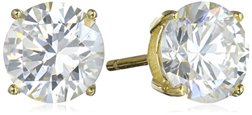 Amazon Essentials Yellow Gold Plated Sterling Silver Round Cut Cubic Zirconia Stud Earrings (8mm) (Zirconium Round Earring)