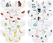 Baby Bibs, Neck Reversible Soft Baby Bib Anti-Stain and Odor Resistant, Baby Drool Bibs for Boys and Girls Absorbent Cotton