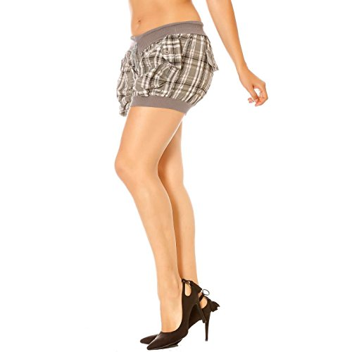Miss Wear Line - Short à carreaux gris avec liens devant