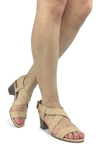 Stad Klassificeras Kvinna Grundläggande Tillfällig Gladiator Blockera Klack Sandaler Beige