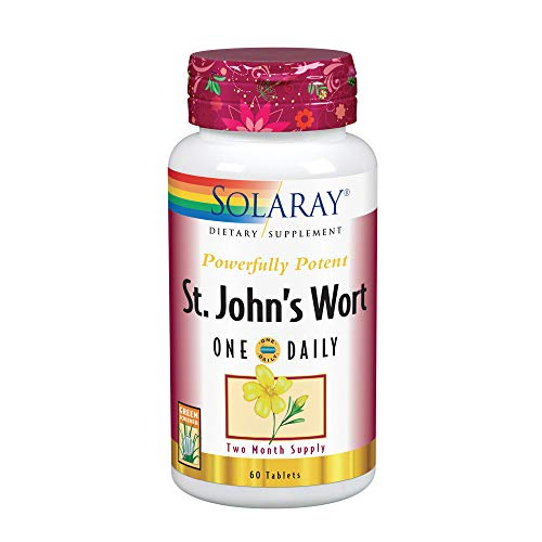 Solaray St. John s Wort Aerial Extract One Daily 900mg Standardized w 0.3 Hypericin for Mood Stability Brain Health Support Non-GMO 60 Ct
