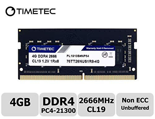 Timetec Hynix IC 4GB DDR4 2666MHz PC4-21300 Unbuffered Non-ECC 1.2V CL19 1Rx8 Single Rank 260 Pin SODIMM Laptop Notebook Computer Memory RAM Module Upgrade (4GB)