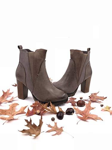 Boots Pelle Cm Moda Chelsea Bi Stivaletti Alto Scarponcini Tacco Donna Scarpe Pelliccia Di Zeppe Khaki Foderato Serpente materiale Elastico 9 Blocco Angkorly A WwXqHxvnx
