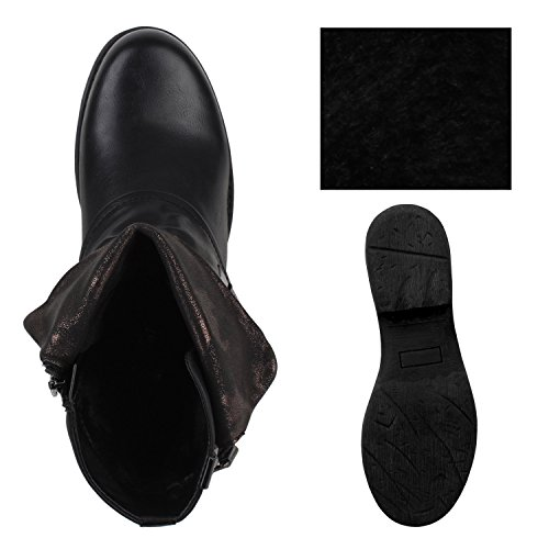 Schwarz Blockabsatz mit Nieten Stiefelparadies Boots Stiefeletten Schnallen Flandell Biker Nieten Damen XPPwSxz